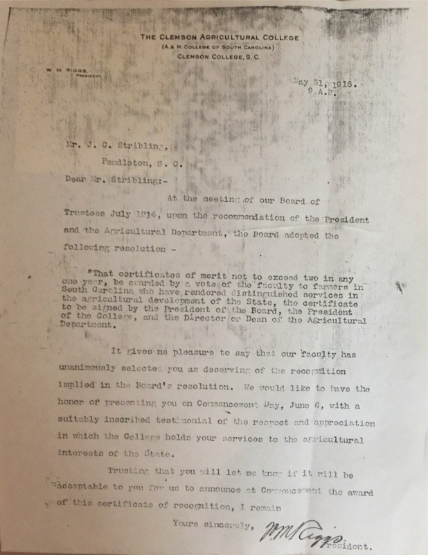 Letter To J.C. Stribling From Clemson College President W.M. Riggs.pdf